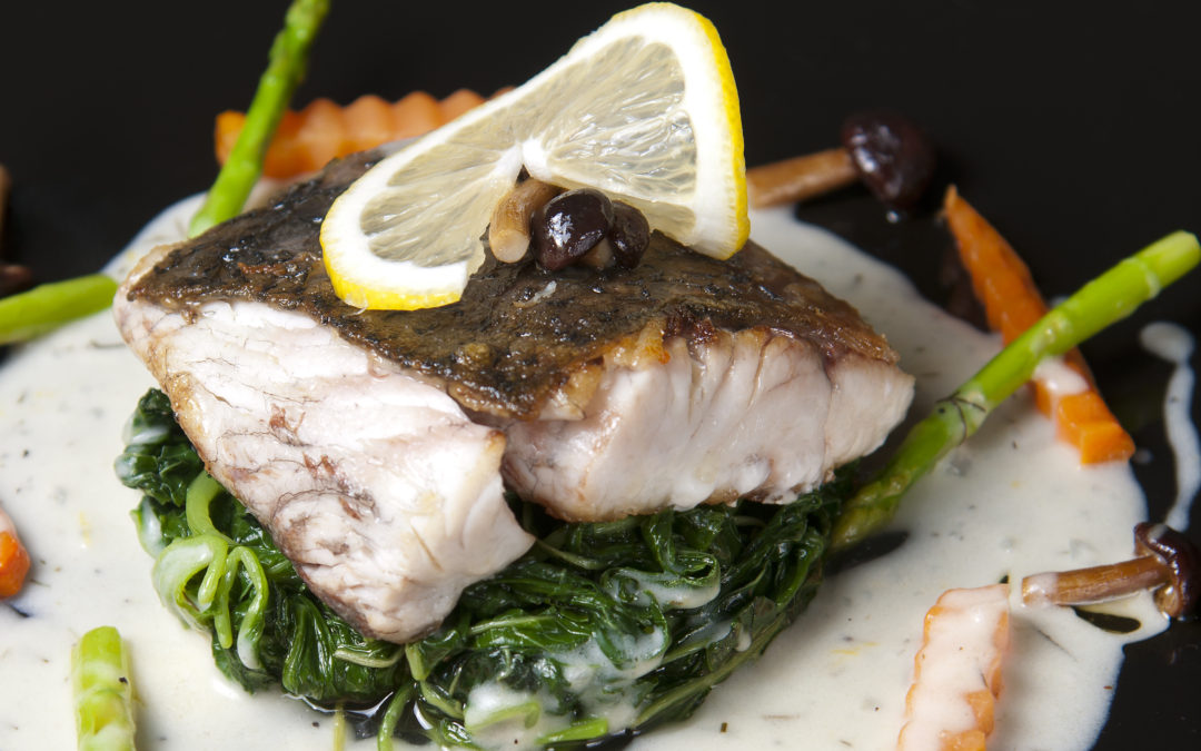 Bass fish with spinach