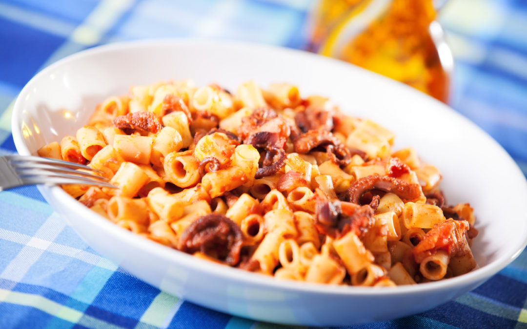 Octopus with macaroni