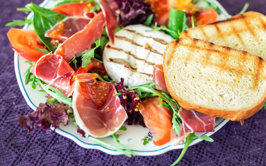 Prosciutto with grilled vegetables and white cheese