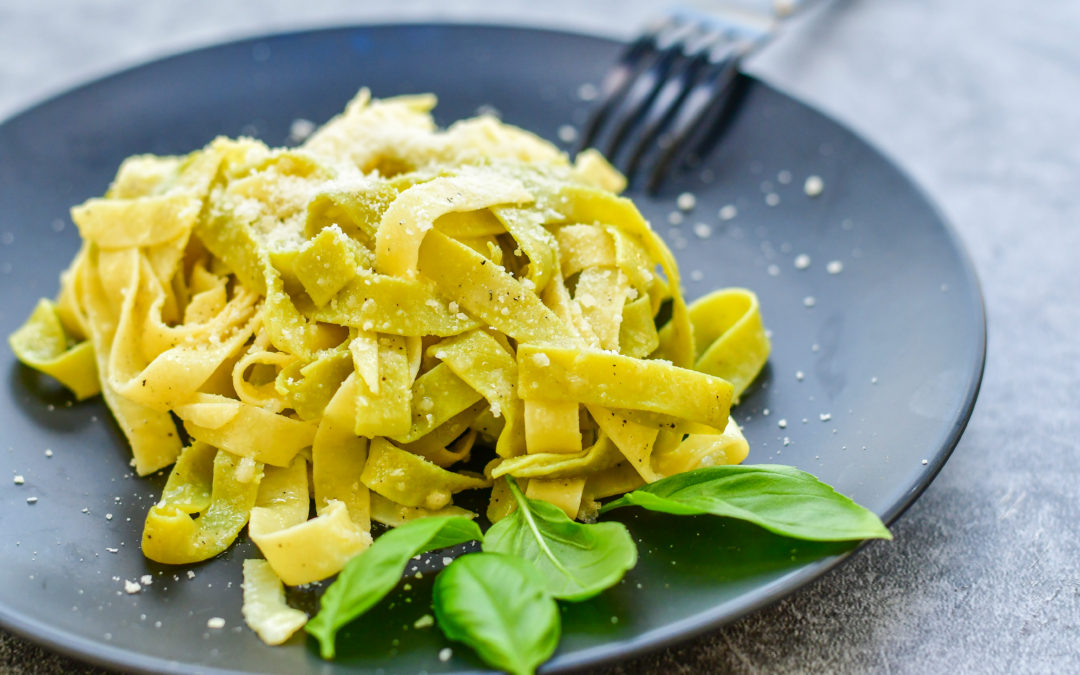 Tagliatelle with yogurt and cheeses